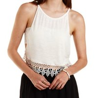 Ivory Crochet-Trim Dropped Armhole Crop Top by Charlotte Russe