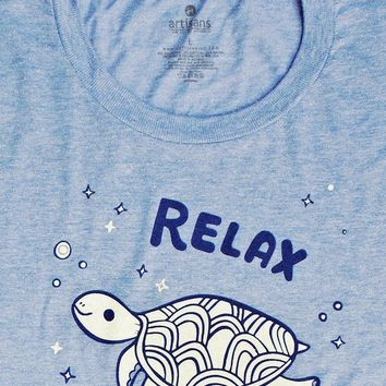 Relax! Sea Turtle Womens Graphic T-Shirt