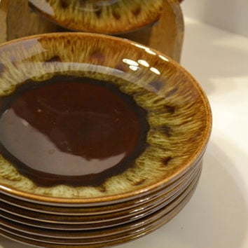 Vintage Brown Drip Glaze Side Plates Set of 8 USA Pottery Hull McCoy PanchosPorch