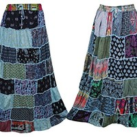 Lot Of 2 Womens Long Skirt FLAUNTING Vintage Ethnic Swirl Style Flare Patchwork Skirts