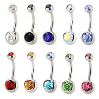 Aprilsky Women's Mix Color 316L Surgical Stainless Steel Navel Ring Belly Rhinestone Button Bar Haatr Body Piercing Jewelry 10pcs