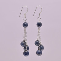 Simple Everyday Handmade 925 Sterling Silver Natural Blue Sapphire Beaded Ball Triple Drop Beads Light Long Dangle Hook Bead Earrings 2.5""