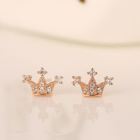Korean Fashion Crown Diamonds 925 Silver Accessory Stylish Earrings [7495345735]