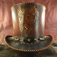 Steampunk Wolf Man leather Top Hat