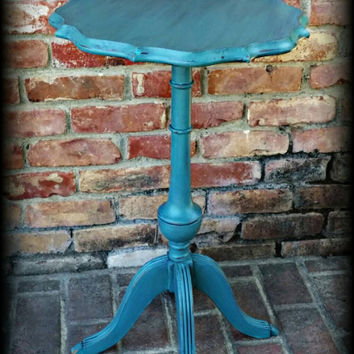 Shabby chic side table, turquoise side table, distressed side table, rustic accent table, shabby chic plant stand, turquoise plant stand