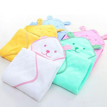 UNIKIDS Spring & Summer Infant Baby Bath Towel Newborn Plain Blankets Towels Cartoon Cotton Towel