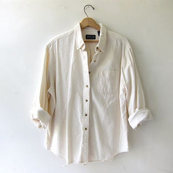 vintage cotton off white shirt. button down shirt. oversized natural cream shirt