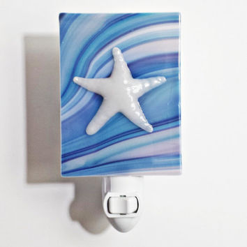 Night Light Fused Glass in White Starfish on Blue Swirl