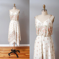1970s Dress  Floral Garden 70s Sun Dress by OldFaithfulVintage