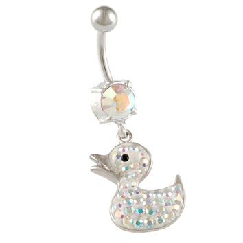 Aurora Borealis Crystal Duck Dangle Belly Button Ring [Gauge: 14G - 1.6mm / Length: 10mm] 316L Surgical Steel & Crystal