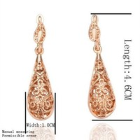 Fashion Jewelry 18k Rose Gold Carven Flower Water Drop Hoops Drop Hooks Studs Earrings Unique Vintage Fashion Fine Jewelry for Women, Girl, Men, Unisex Gem0002
