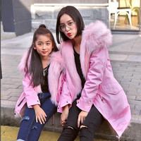 Children Faux  Fox Fur Coat Baby Winter Warm Family Matching Outfits Coat High-quality Faux Fox Fur Clothes Kids Coats ACT-03
