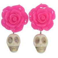 Mexican Flower Rose & Sugar Skull Day of the Dead White Turquoise Skull Earrings