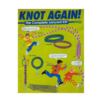 Knot Again - Vintage 1990s Children's Lanyard Instruction Book - DIY Gift or Craft Ideas - Key Chains, Bracelets and Tassels Lanyard Designs