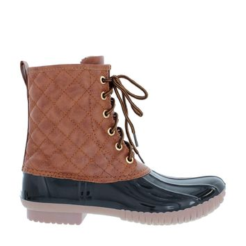 Quilted Lace Up Duck Boot (BLACK)