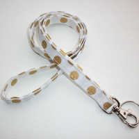 Lanyard  ID Badge Holder - metallic gold polka dots on white - THINNER design  - Lobster clasp and key ring