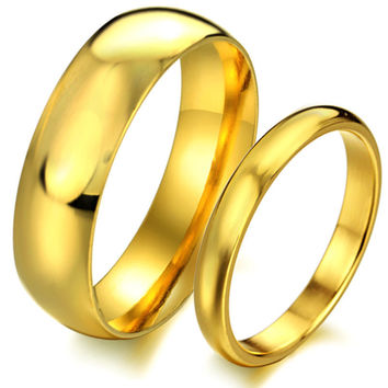 Glossy gold-plated titanium jewelry couple wedding rings his and hers promise ring sets wedding gift price for 1 piece