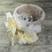 Shabby corsage, country chic bangle, floral fabric bracelet, cottage chic, rustic wedding, lace, flower, farmgirl