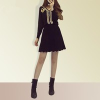 """Gucci"" Temperament Fashion Bee Embroidery Multicolor V-Neck Long Sleeve Knit Cardigan Short Skirt Set Two-Piece"