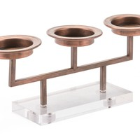Lucite 3 Candle Holder Gold