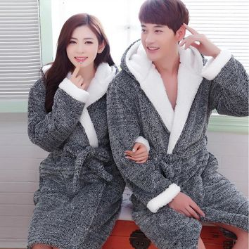 Flannel Hooded Couples Bathrobes Women's Robes Winter Dressing Gowns For Women Men Female nightgowns Kimono Robe Home Clothes