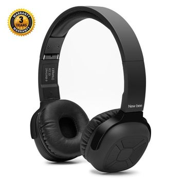 On-Ear Bluetooth Headphones New Bee Hi-Fi Stereo Wireless Bluetooth 4.1 Headsets with Smart Pedometer Function and Mic Audio for IOS Android Smartphones Sent Headphone Stand & Headphone Case (Black)