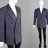 Vintage 80s VALENTINO Couture Men's Suit Jacket Double Breasted Pinstripe Blazer Mens Blazer 1980s Designer Made in Italy Pure New Wool