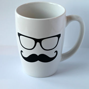 Groomsmen Best Man Hypster Glasses Mustache Gift -Personalized Coffee Cappuccino Mug