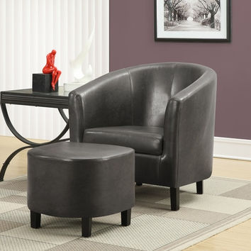Charcoal Grey Leather-Look Accent Chair and Ottoman