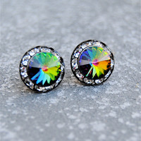 Rainbow Earrings - Sugar Sparklers Small - RARE Vintage Oxidized Swarovski Rainbow Vitrail, Diamond Rhinestone Sud Earrings