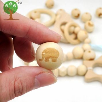 30pcs wood round ball  ELEPHANT bead shaped burnt engrave diy accessory wooden craft for teether EA147-1