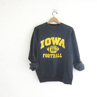 20% OFF SALE vintage Iowa Hawkeyes college sweatshirt. cotton blend sweatshirt. Black and Gold / University of Iowa Hawks Football