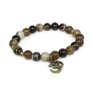 Brass Om Sardonyx Beaded Gemstone Bracelet
