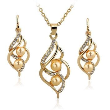 Plated Elegant Inlaid Crystal Jewelry Sets Imitation Pearl Set For Women Wedding