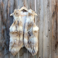 wild child faux fur vest women's vintage inspired women's jacket sleeveless brown white cozy soft affordable boho bohemian gypsy hippie