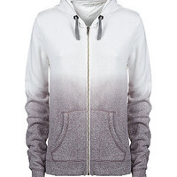 Grey and White Dip Dye Zip Up Hoodie