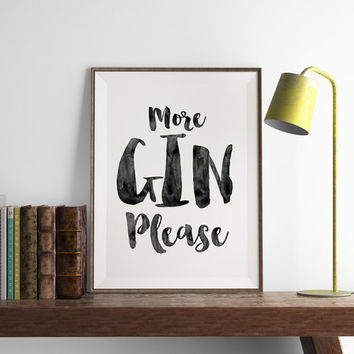 Gin Print | Kitchen Wall Art | Art Printable | Printable Wall Art | PDF Download | Funny Art