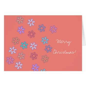 Merry Christmas Happy New Year Snowflakes Card