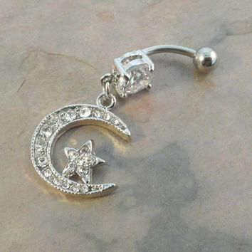 Belly Button Jewelry Ring Silver Crescent Moon and Star
