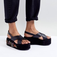 Glamorous Black Embroidered Flatform Sandals at asos.com