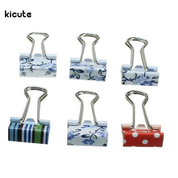 6pcs/pack Small Fresh Style Flower Floral Printed Metal Binder Clips Notes Letter Paper Clip Office Supplies Pattern Randomly