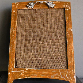 "Picture Frame 8""x10""-UpCycled Wood/Distressed Mustard White/Ornate Vintage Hardware Adorned"