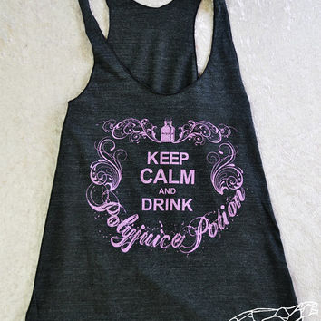 Harry Potter Racerback Tank - Keep Calm and Drink Polyjuice Potion, Black Magic Version with Sparkly Heliotrope Ink
