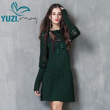 Women Dress 2017 Yuzi.may Boho New Cotton Wool Vestidos Lantern Sleeve O-Neck A-line Pleated Dresses A82058 Vestido Feminino