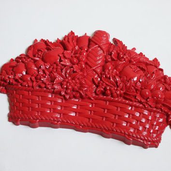 Bright Red Fruit Basket Wall Hanging, Homco Fruit Basket, Upcycled Home Decor, Kitchen Decor