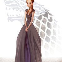 Sansa Stark from GAME of THRONES (Song of Ice and Fire) art painting print, signed by Leann Hill