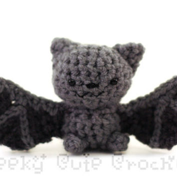Gray Bat Amigurumi - crocheted plush toy - MADE TO ORDER