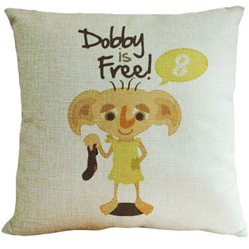 45x45cm Cotton Linen Pillow Case Harry Potter Dobby Pattern Chair Seat and Waist Square Decorative Pillow Cover Home Textile