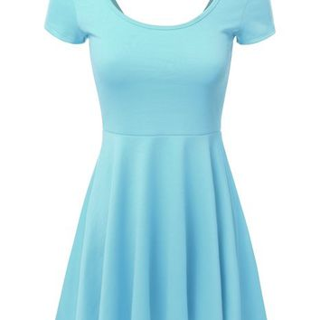 J.TOMSON Women's Cap & Long Sleeve Pleated A-line Dress with Scopp Neck and Back
