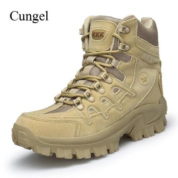 Cungel Men Winter/Autumn Military Tactical Boots Outdoor Hiking Boots Army Combat breathable waterproof Anti-skid Climbing shoes